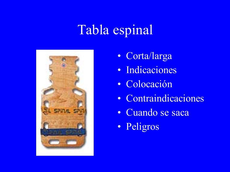 Tabla espinal Corta/larga Indicaciones Colocación Contraindicaciones Cuando se saca Peligros