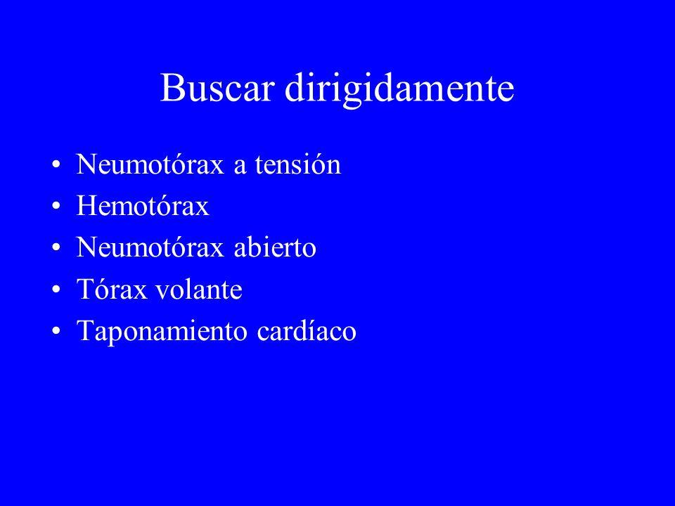 Buscar dirigidamente Neumotórax a tensión Hemotórax Neumotórax abierto Tórax volante Taponamiento cardíaco