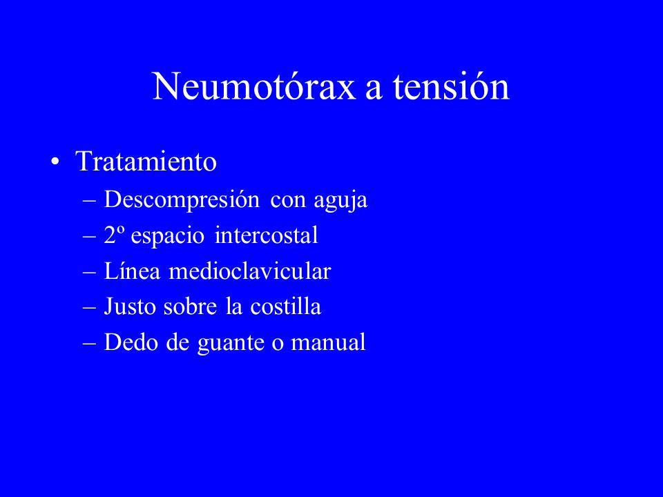 Neumotórax a tensión Tratamiento –Descompresión con aguja –2º espacio intercostal –Línea medioclavicular –Justo sobre la costilla –Dedo de guante o ma