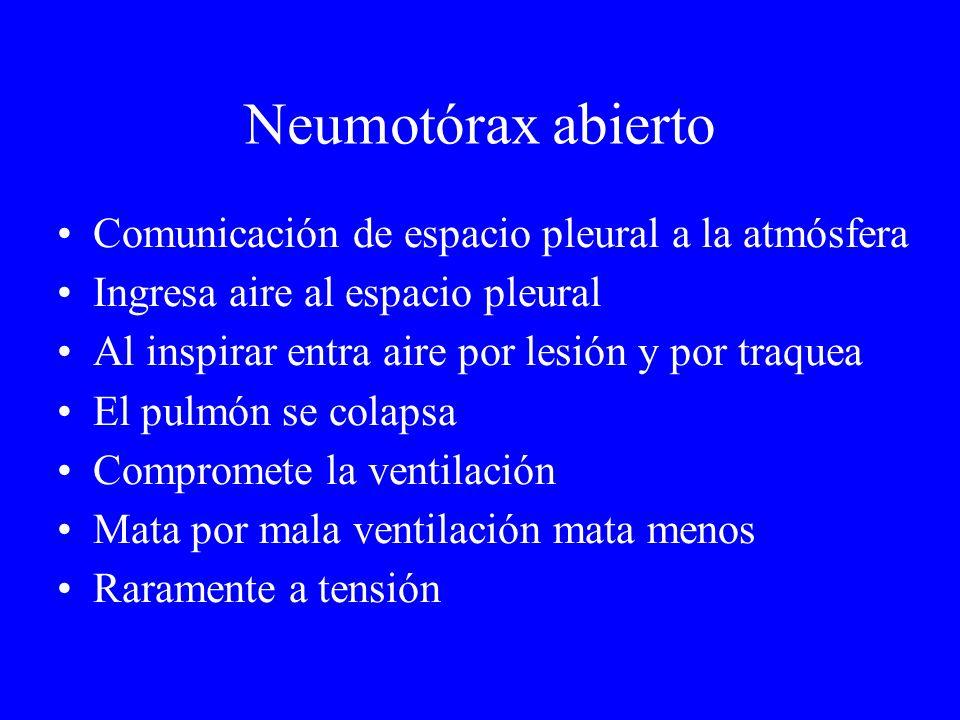 Neumotórax abierto Comunicación de espacio pleural a la atmósfera Ingresa aire al espacio pleural Al inspirar entra aire por lesión y por traquea El p