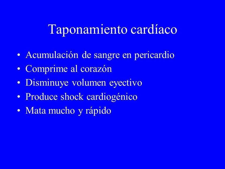 Taponamiento cardíaco Acumulación de sangre en pericardio Comprime al corazón Disminuye volumen eyectivo Produce shock cardiogénico Mata mucho y rápid