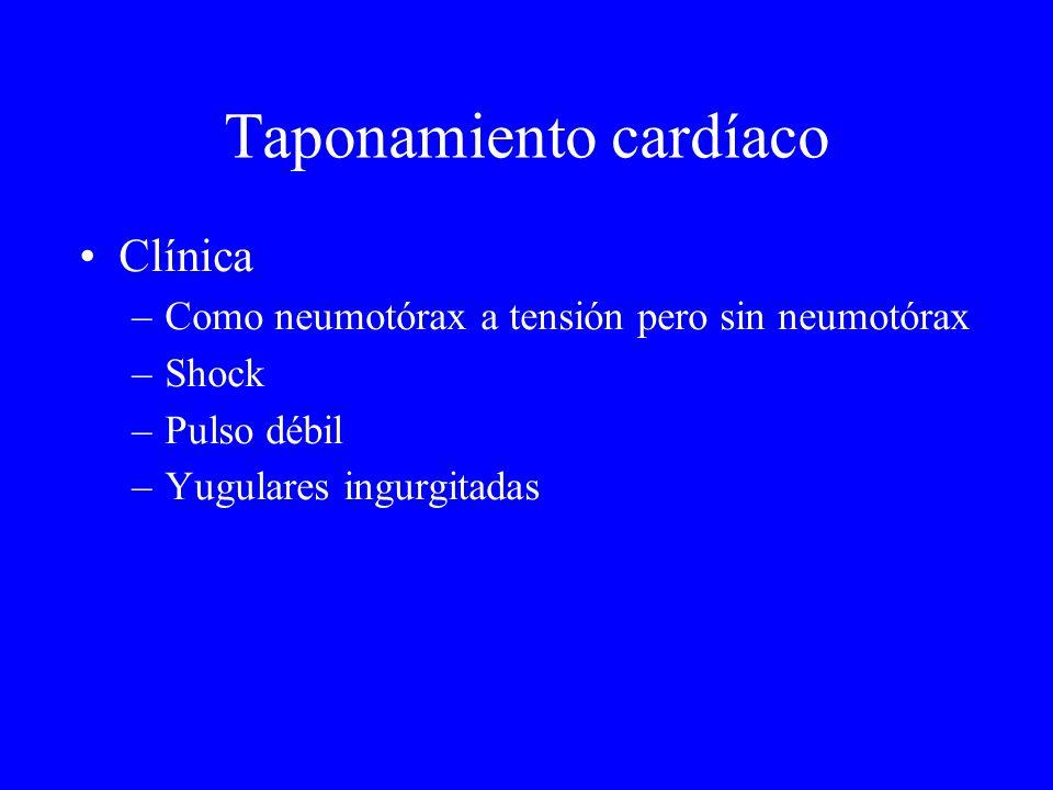 Taponamiento cardíaco Clínica –Como neumotórax a tensión pero sin neumotórax –Shock –Pulso débil –Yugulares ingurgitadas