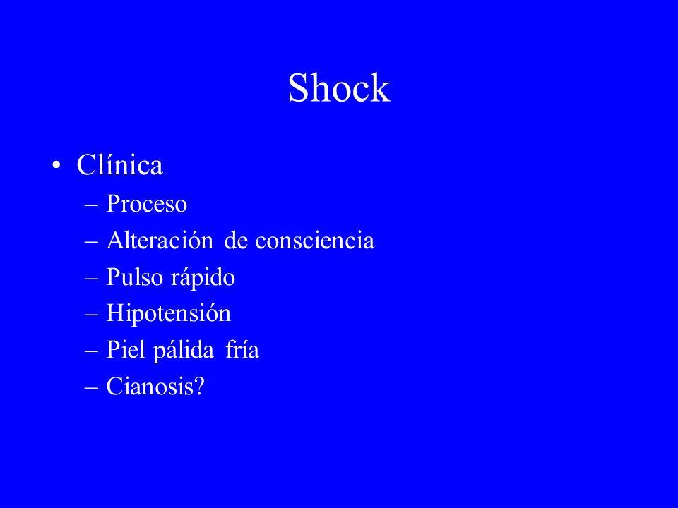 Shock Clínica –Proceso –Alteración de consciencia –Pulso rápido –Hipotensión –Piel pálida fría –Cianosis?