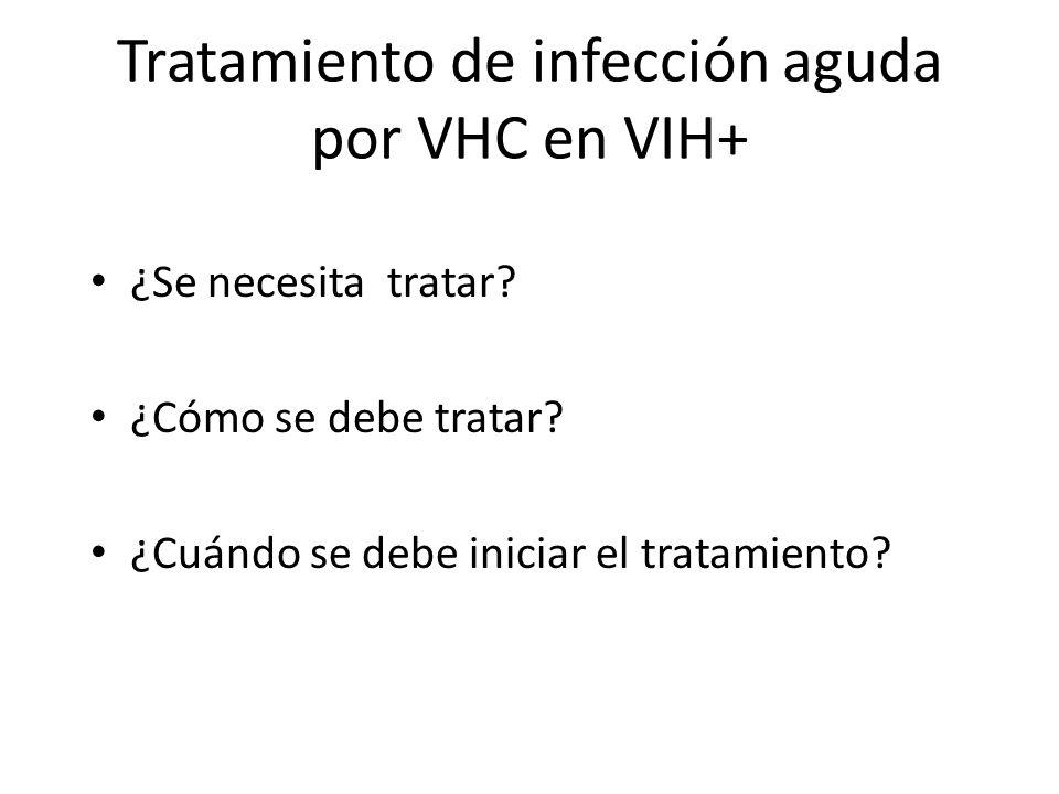 Tratamiento de infección aguda por VHC en VIH+ ¿Se necesita tratar? ¿Cómo se debe tratar? ¿Cuándo se debe iniciar el tratamiento?