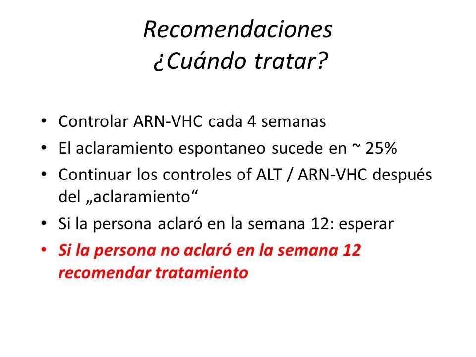 Recomendaciones ¿Cuándo tratar? Controlar ARN-VHC cada 4 semanas El aclaramiento espontaneo sucede en ~ 25% Continuar los controles of ALT / ARN-VHC d