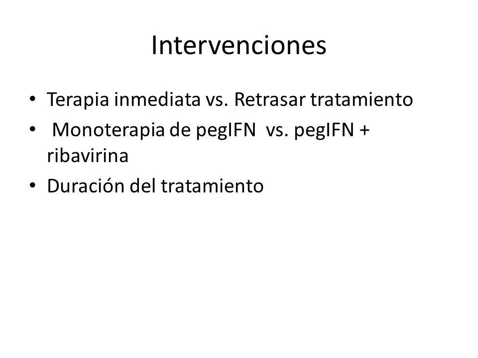 Intervenciones Terapia inmediata vs. Retrasar tratamiento Monoterapia de pegIFN vs. pegIFN + ribavirina Duración del tratamiento