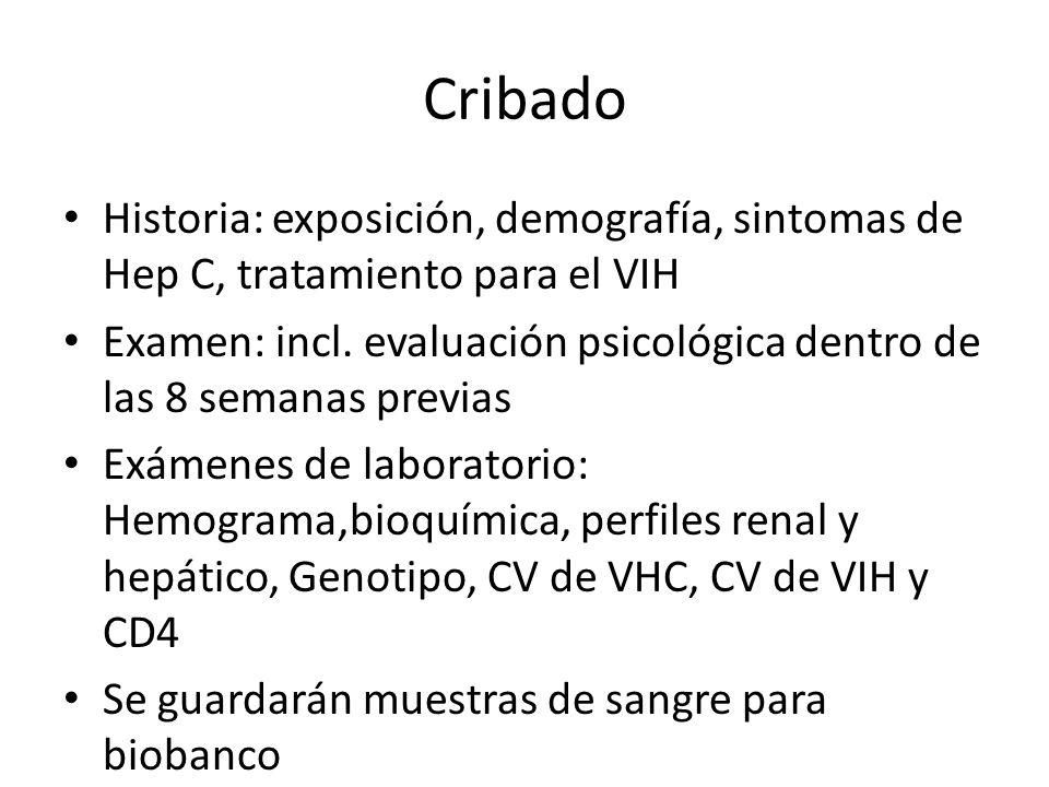 Cribado Historia: exposición, demografía, sintomas de Hep C, tratamiento para el VIH Examen: incl. evaluación psicológica dentro de las 8 semanas prev