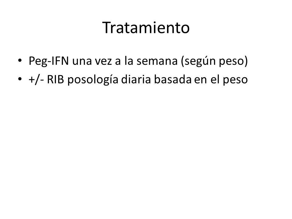 Tratamiento Peg-IFN una vez a la semana (según peso) +/- RIB posología diaria basada en el peso
