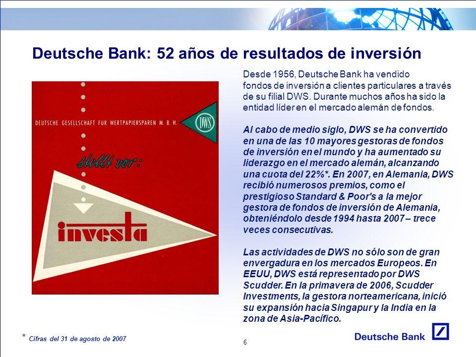 6 Deutsche Bank: 52 años de resultados de inversión Desde 1956, Deutsche Bank ha vendido fondos de inversión a clientes particulares a través de su filial DWS.