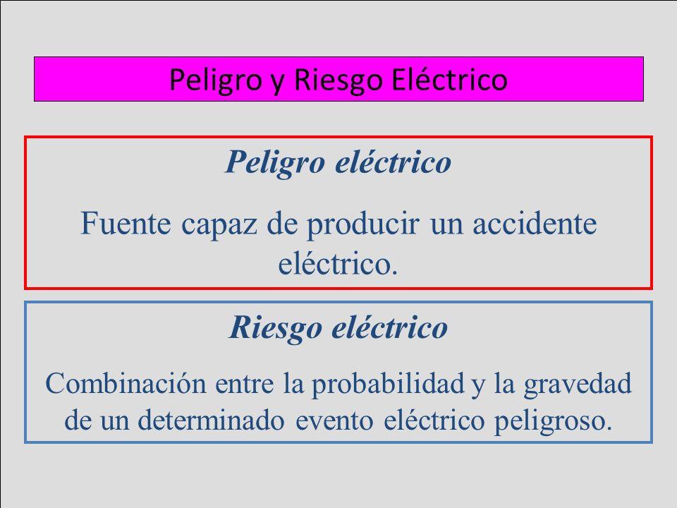 Peligro y Riesgo Eléctrico Peligro eléctrico Fuente capaz de producir un accidente eléctrico. Riesgo eléctrico Combinación entre la probabilidad y la