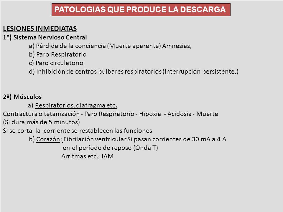 LESIONES INMEDIATAS 1º) Sistema Nervioso Central a) Pérdida de la conciencia (Muerte aparente) Amnesias, b) Paro Respiratorio c) Paro circulatorio d)