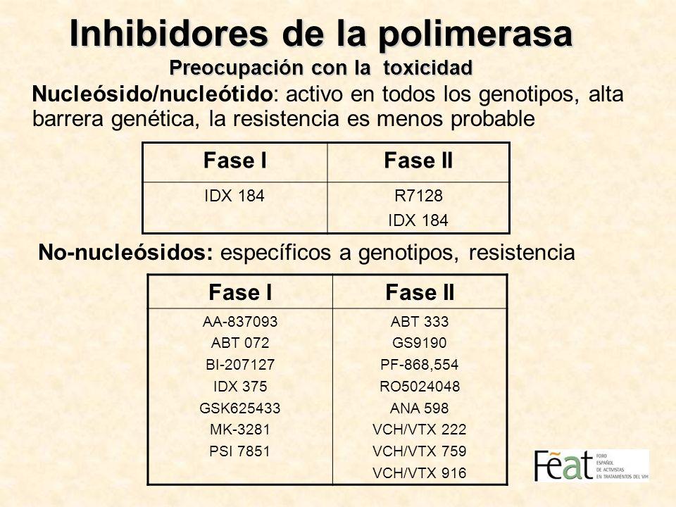 Inhibidores de la polimerasa Preocupación con la toxicidad Nucleósido/nucleótido: activo en todos los genotipos, alta barrera genética, la resistencia