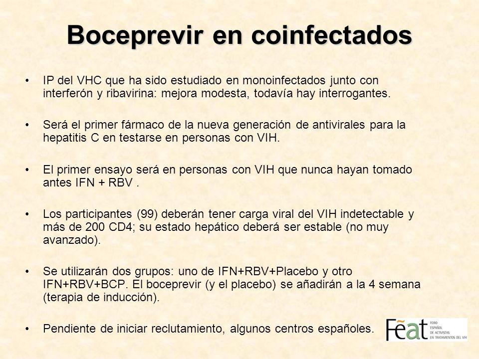 Boceprevir en coinfectados IP del VHC que ha sido estudiado en monoinfectados junto con interferón y ribavirina: mejora modesta, todavía hay interroga