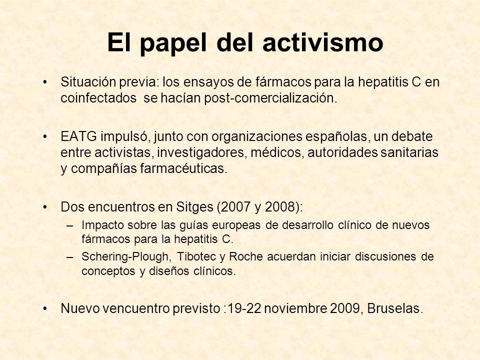 El papel del activismo Situación previa: los ensayos de fármacos para la hepatitis C en coinfectados se hacían post-comercialización. EATG impulsó, ju