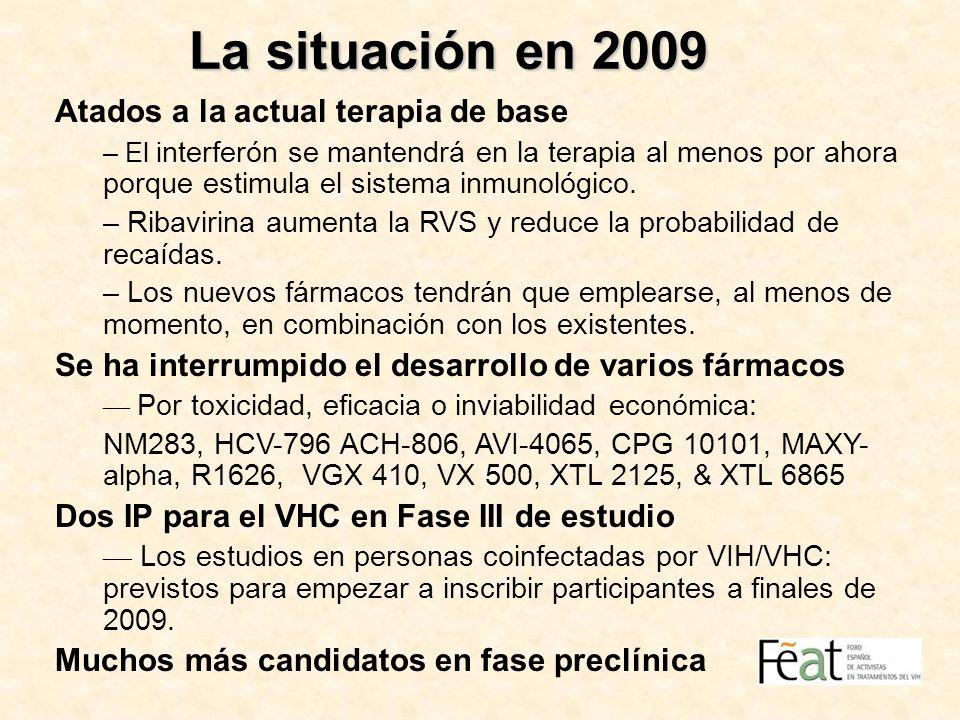 La situación en 2009 Atados a la actual terapia de base – El i nterferón se mantendrá en la terapia al menos por ahora porque estimula el sistema inmu