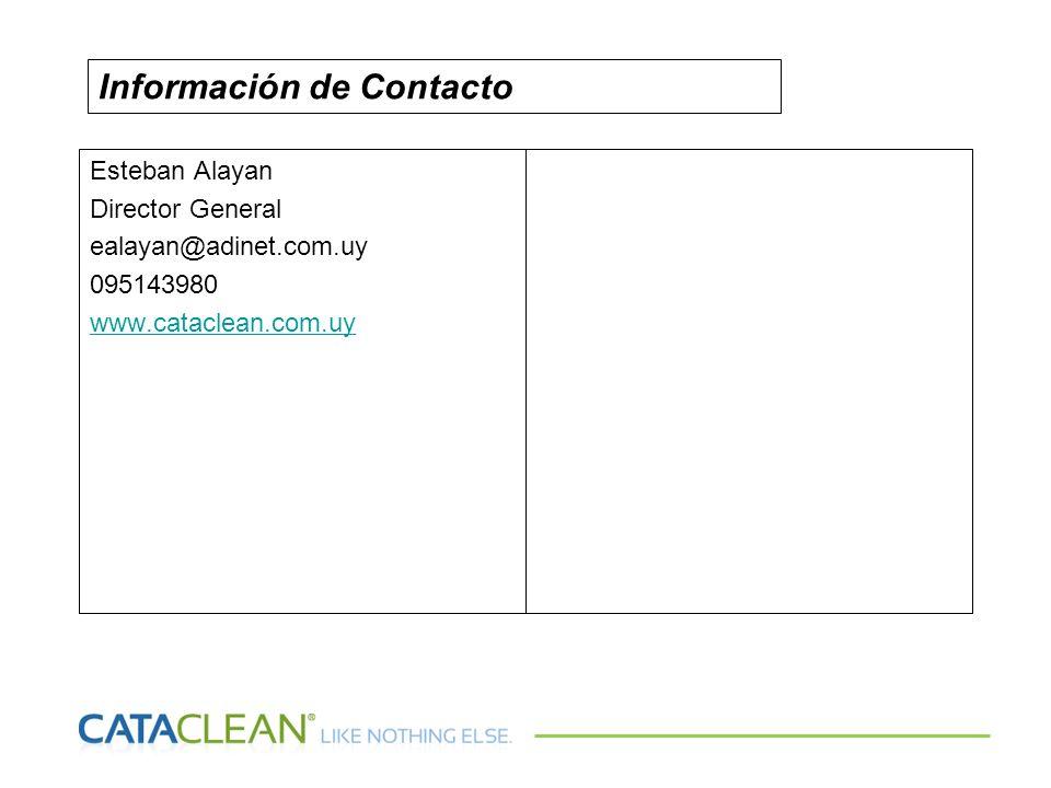 Esteban Alayan Director General ealayan@adinet.com.uy 095143980 www.cataclean.com.uy Información de Contacto