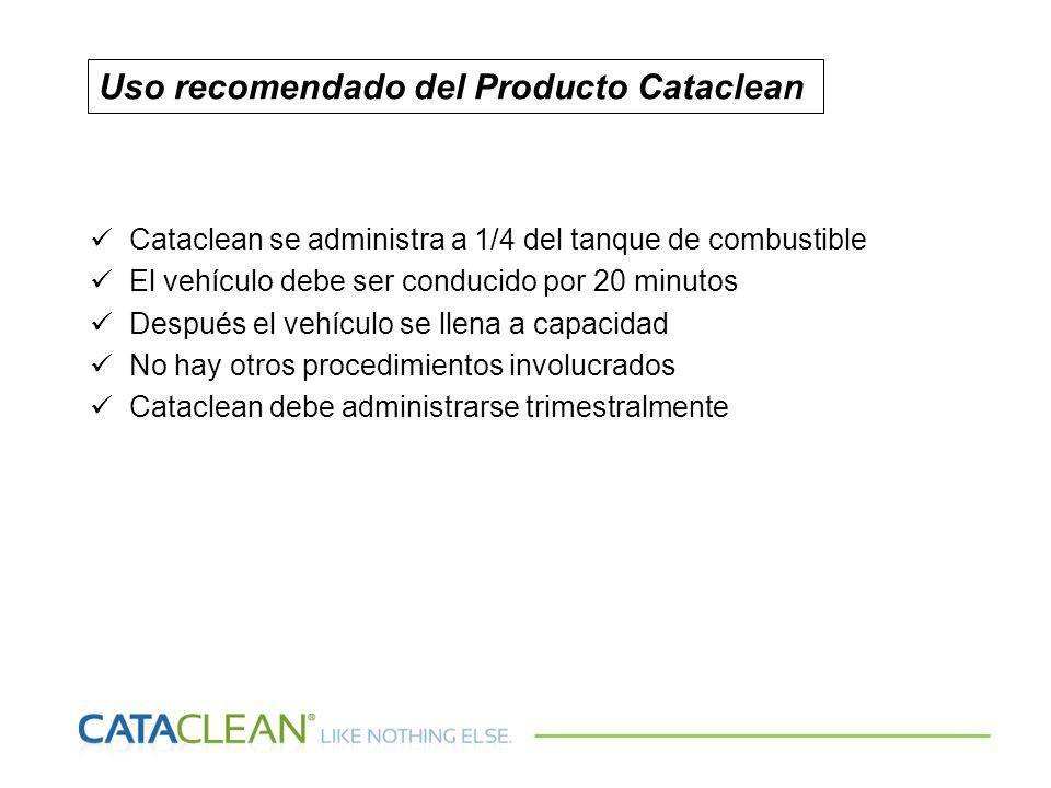 Cataclean se administra a 1/4 del tanque de combustible El vehículo debe ser conducido por 20 minutos Después el vehículo se llena a capacidad No hay