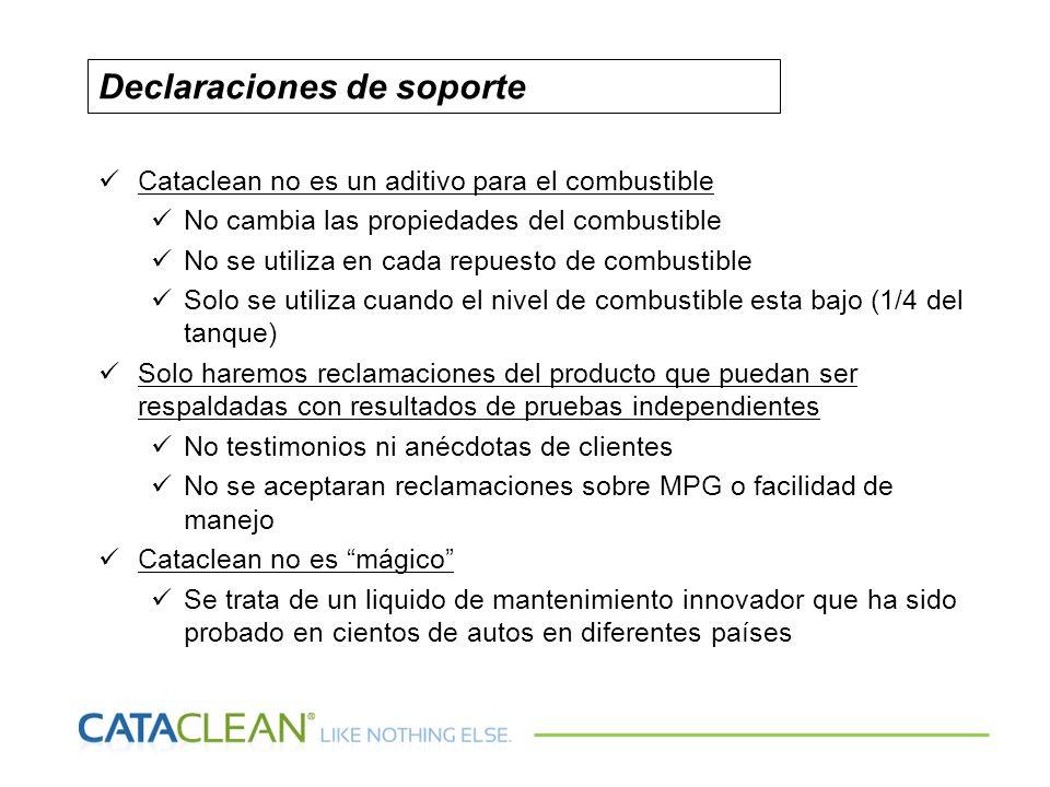 Cataclean no es un aditivo para el combustible No cambia las propiedades del combustible No se utiliza en cada repuesto de combustible Solo se utiliza