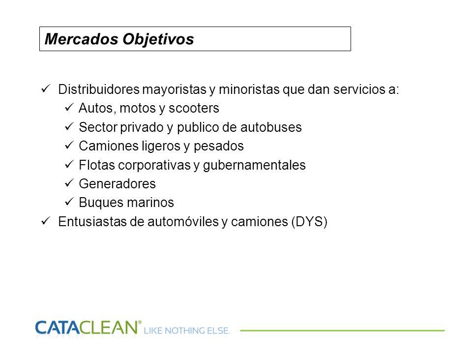 Distribuidores mayoristas y minoristas que dan servicios a: Autos, motos y scooters Sector privado y publico de autobuses Camiones ligeros y pesados F