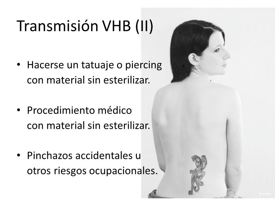 Transmisión VHB (II) Hacerse un tatuaje o piercing con material sin esterilizar. Procedimiento médico con material sin esterilizar. Pinchazos accident