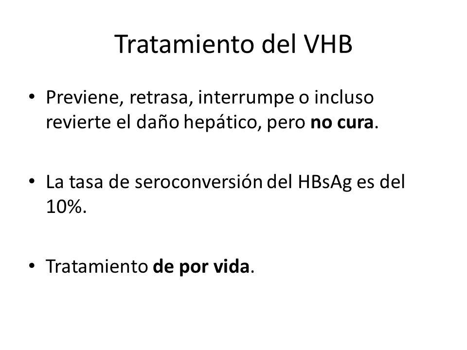 Tratamiento del VHB Previene, retrasa, interrumpe o incluso revierte el daño hepático, pero no cura. La tasa de seroconversión del HBsAg es del 10%. T