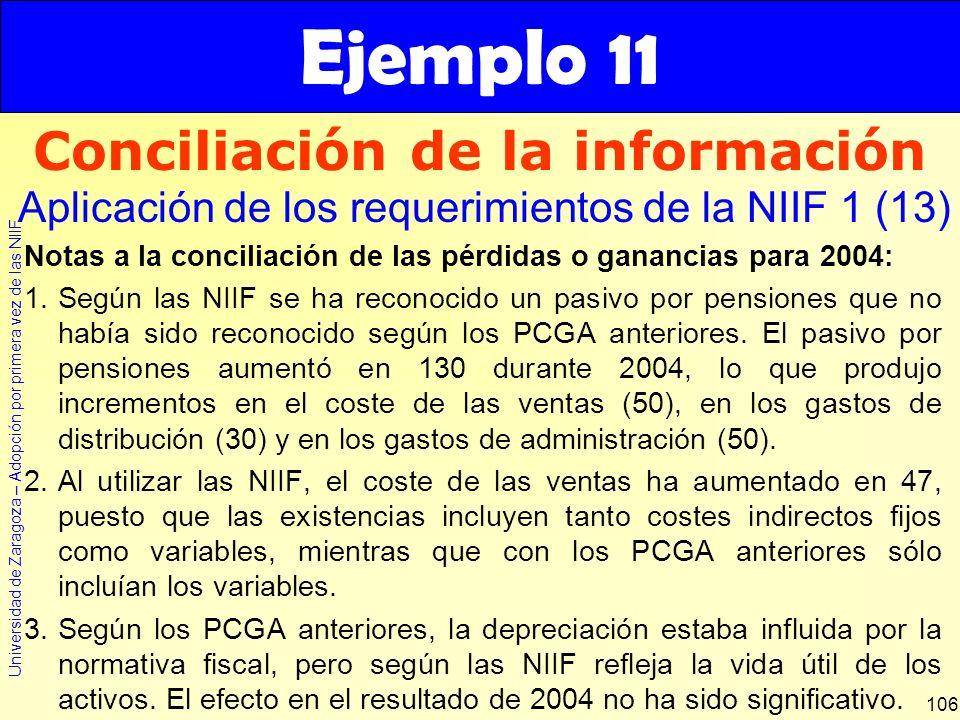 Universidad de Zaragoza – Adopción por primera vez de las NIIF 106 Notas a la conciliación de las pérdidas o ganancias para 2004: 1.Según las NIIF se