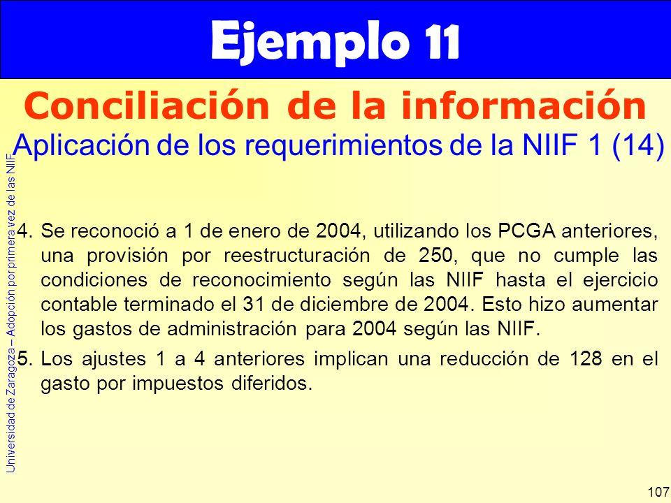Universidad de Zaragoza – Adopción por primera vez de las NIIF 107 4.Se reconoció a 1 de enero de 2004, utilizando los PCGA anteriores, una provisión