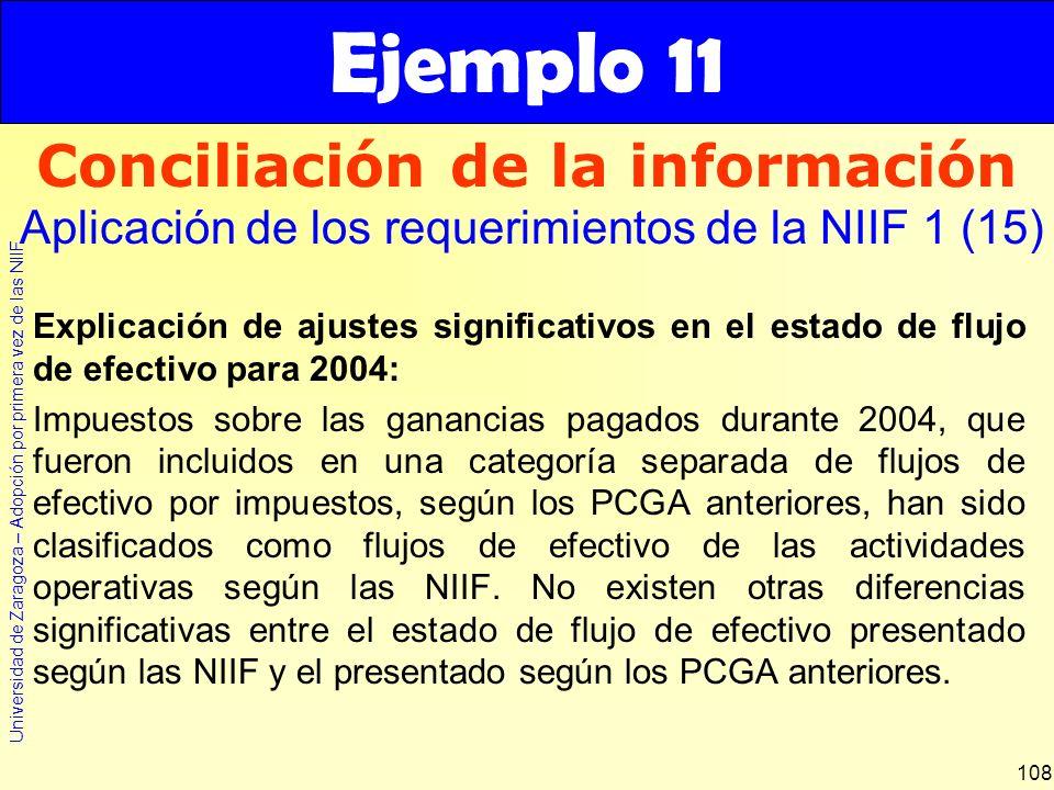 Universidad de Zaragoza – Adopción por primera vez de las NIIF 108 Explicación de ajustes significativos en el estado de flujo de efectivo para 2004: