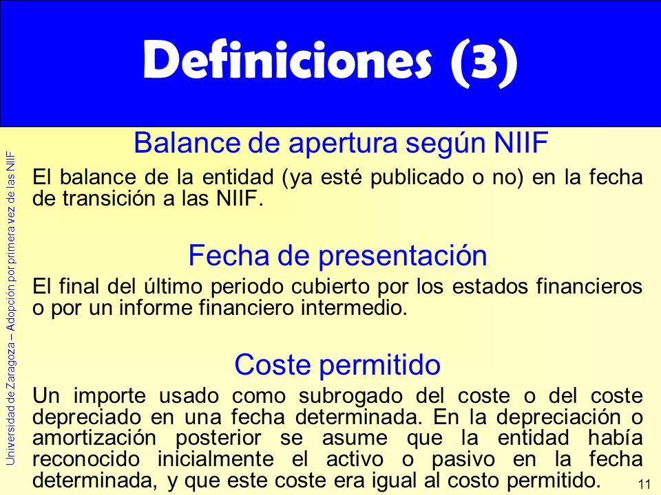 Universidad de Zaragoza – Adopción por primera vez de las NIIF 11 Definiciones (3) El balance de la entidad (ya esté publicado o no) en la fecha de tr