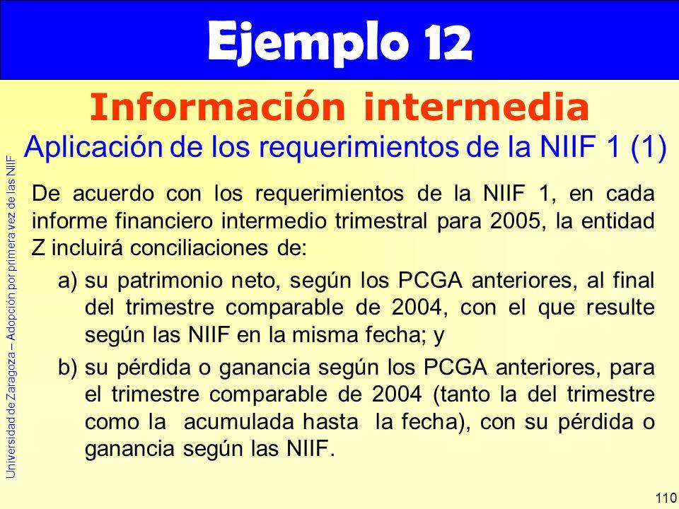 Universidad de Zaragoza – Adopción por primera vez de las NIIF 110 De acuerdo con los requerimientos de la NIIF 1, en cada informe financiero intermed