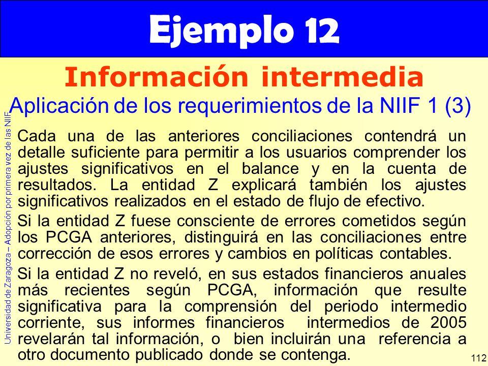 Universidad de Zaragoza – Adopción por primera vez de las NIIF 112 Cada una de las anteriores conciliaciones contendrá un detalle suficiente para perm