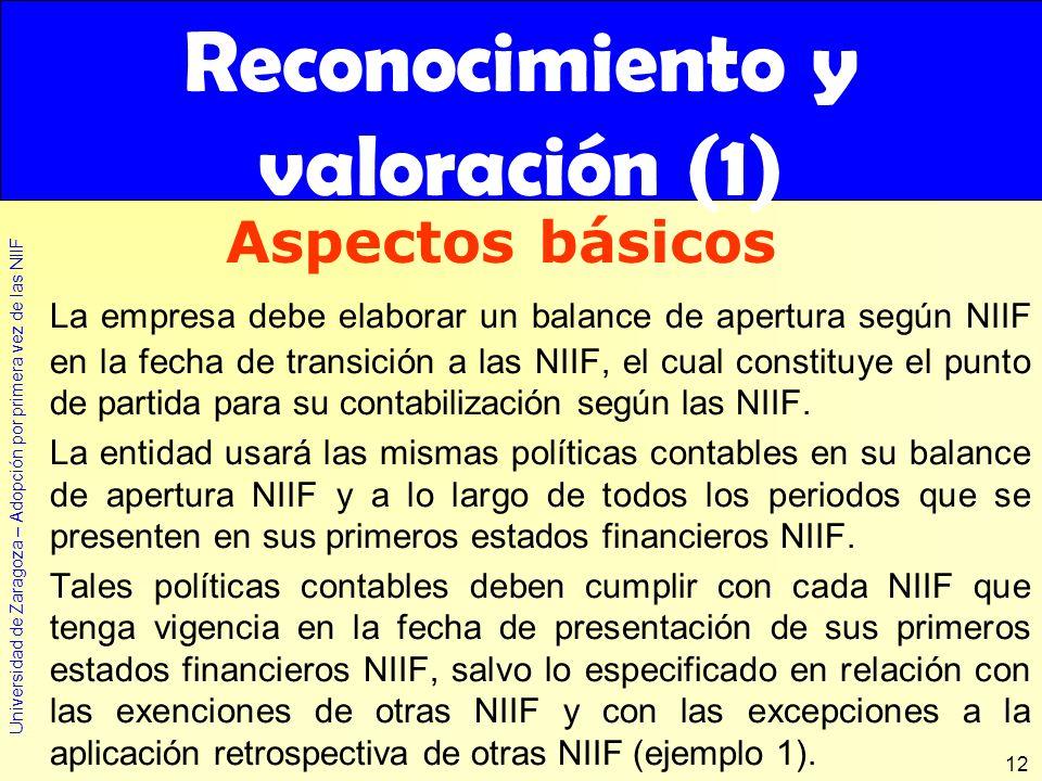 Universidad de Zaragoza – Adopción por primera vez de las NIIF 12 Reconocimiento y valoración (1) La empresa debe elaborar un balance de apertura segú