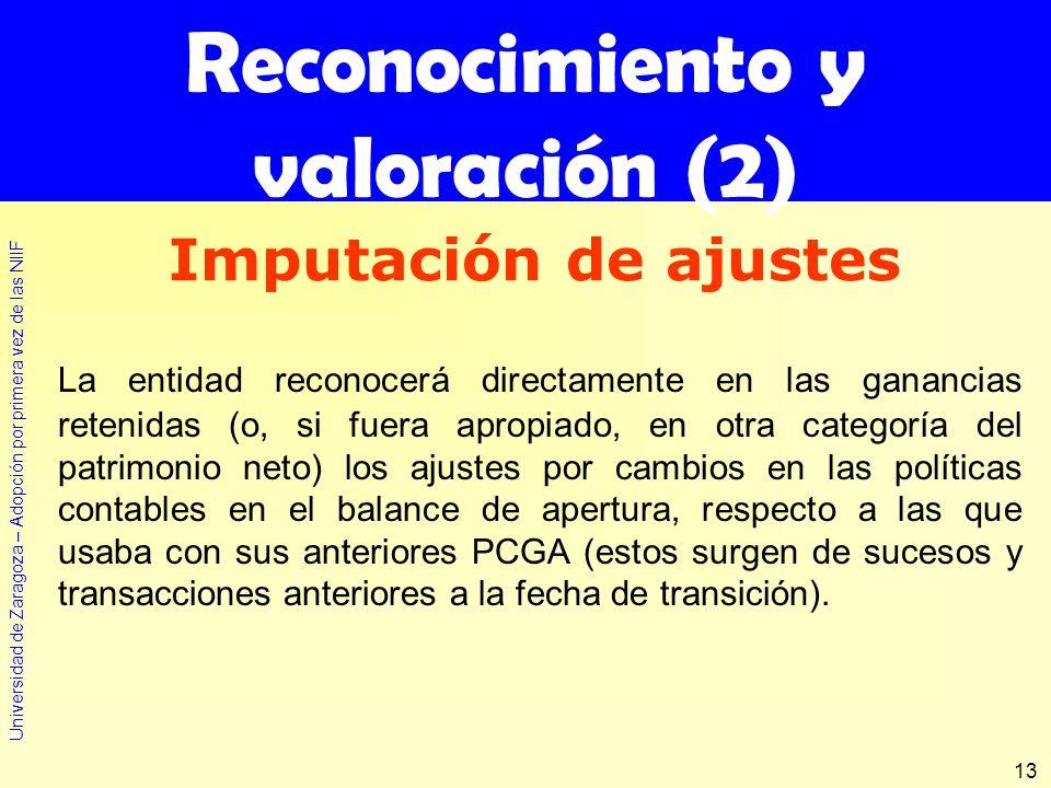 Universidad de Zaragoza – Adopción por primera vez de las NIIF 13 Reconocimiento y valoración (2) La entidad reconocerá directamente en las ganancias
