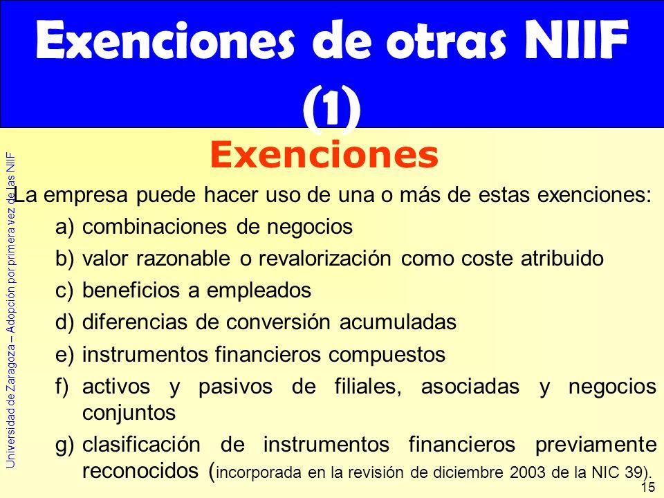 Universidad de Zaragoza – Adopción por primera vez de las NIIF 15 Exenciones de otras NIIF (1) La empresa puede hacer uso de una o más de estas exenci