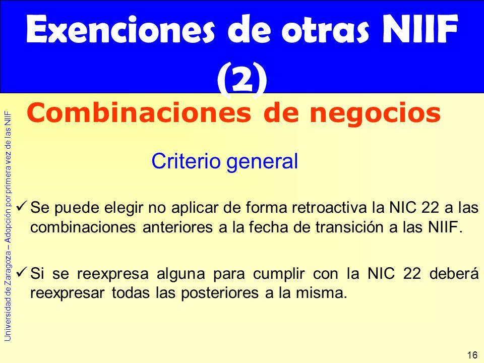 Universidad de Zaragoza – Adopción por primera vez de las NIIF 16 Se puede elegir no aplicar de forma retroactiva la NIC 22 a las combinaciones anteri