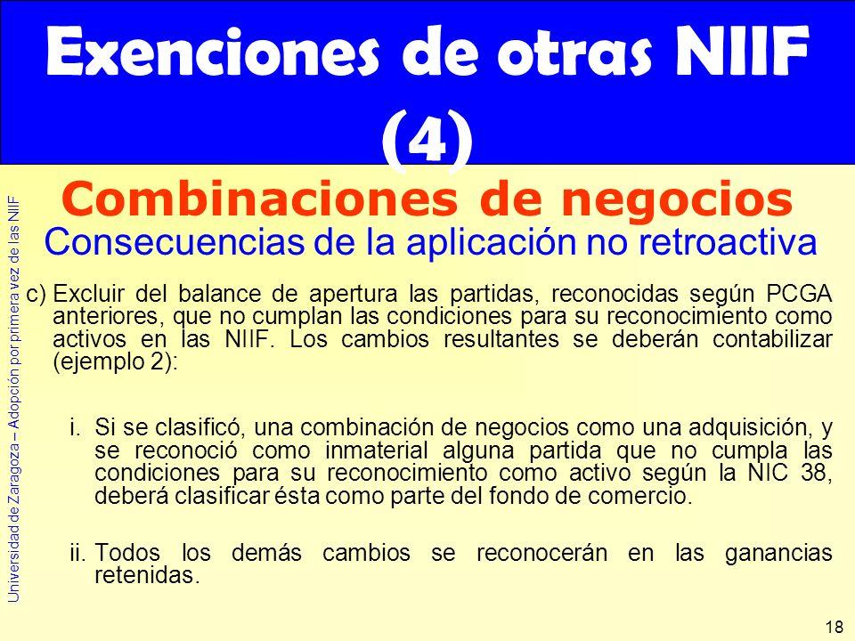 Universidad de Zaragoza – Adopción por primera vez de las NIIF 18 c)Excluir del balance de apertura las partidas, reconocidas según PCGA anteriores, q