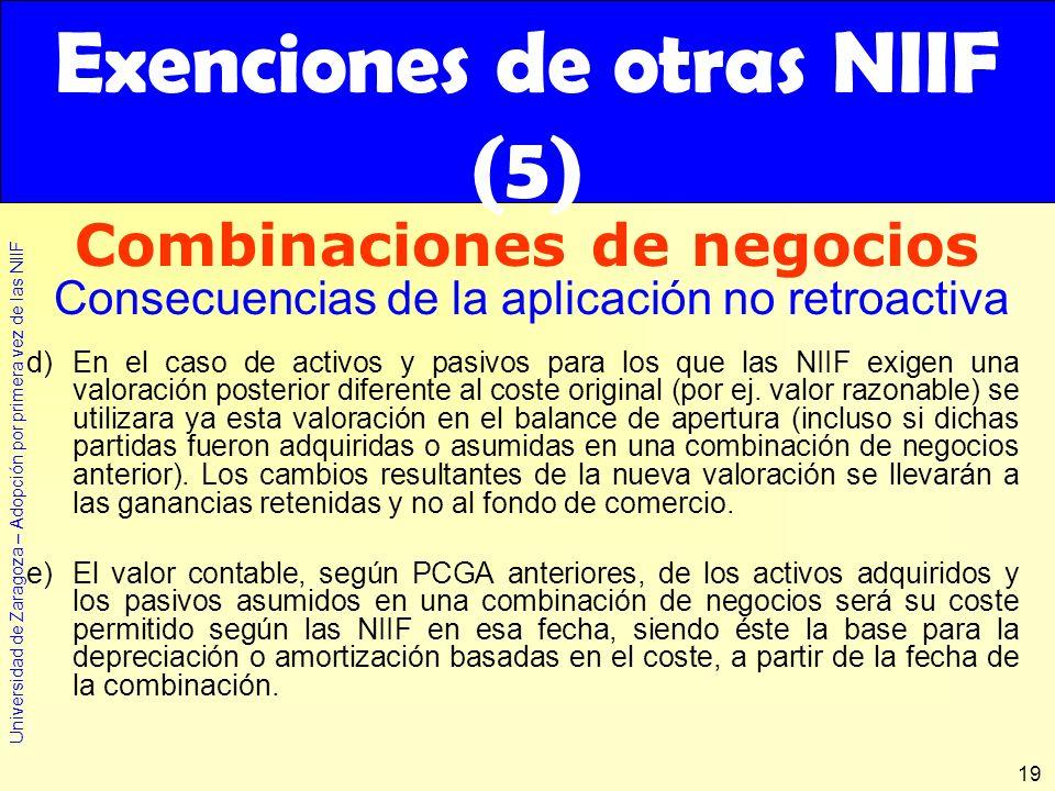 Universidad de Zaragoza – Adopción por primera vez de las NIIF 19 d)En el caso de activos y pasivos para los que las NIIF exigen una valoración poster
