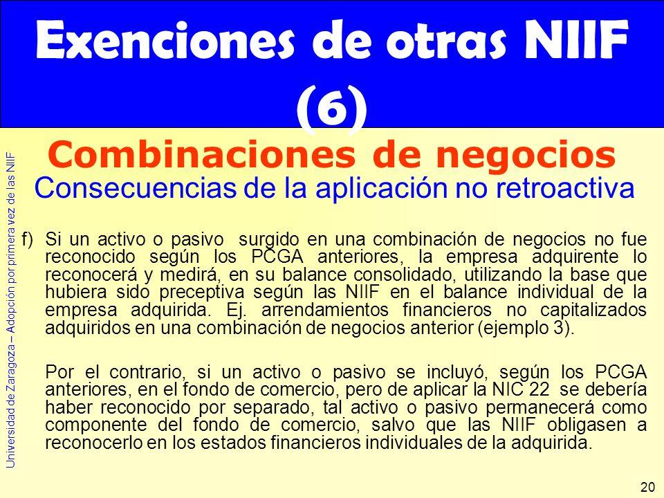 Universidad de Zaragoza – Adopción por primera vez de las NIIF 20 f)Si un activo o pasivo surgido en una combinación de negocios no fue reconocido seg