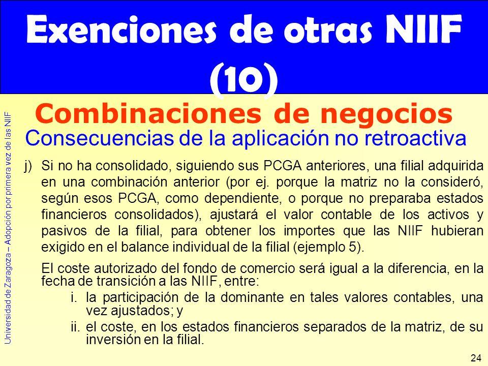 Universidad de Zaragoza – Adopción por primera vez de las NIIF 24 j)Si no ha consolidado, siguiendo sus PCGA anteriores, una filial adquirida en una c