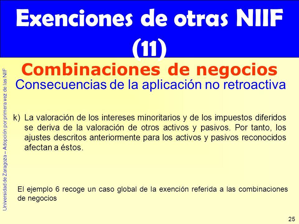 Universidad de Zaragoza – Adopción por primera vez de las NIIF 25 Exenciones de otras NIIF (11) Combinaciones de negocios Consecuencias de la aplicaci