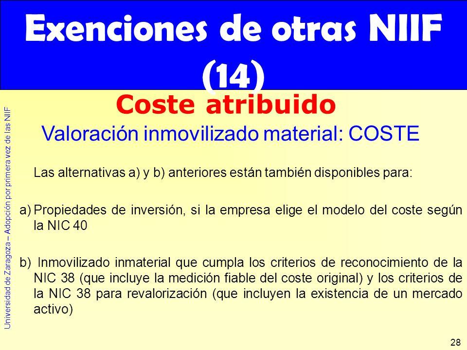 Universidad de Zaragoza – Adopción por primera vez de las NIIF 28 Las alternativas a) y b) anteriores están también disponibles para: a)Propiedades de