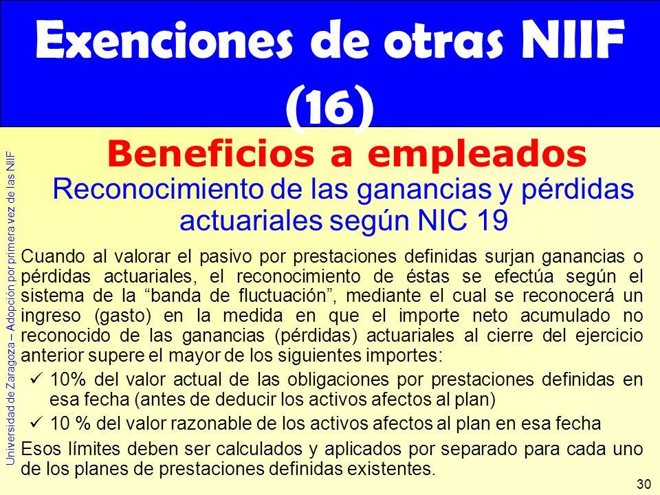 Universidad de Zaragoza – Adopción por primera vez de las NIIF 30 Cuando al valorar el pasivo por prestaciones definidas surjan ganancias o pérdidas a