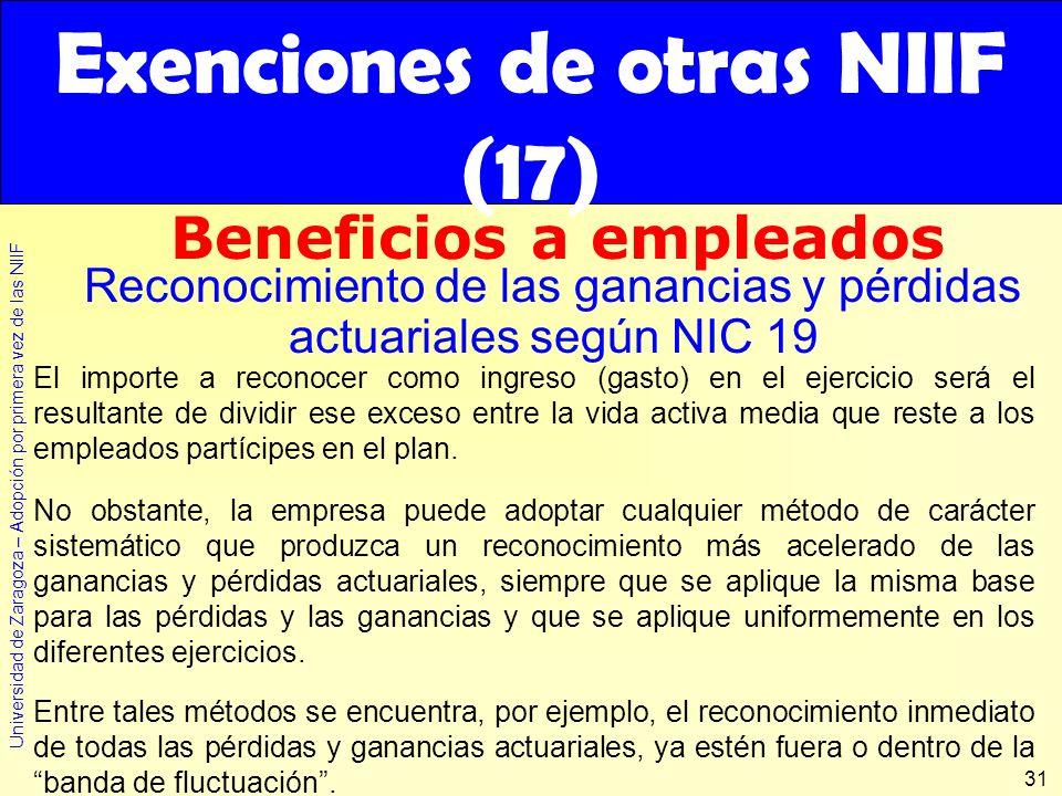Universidad de Zaragoza – Adopción por primera vez de las NIIF 31 El importe a reconocer como ingreso (gasto) en el ejercicio será el resultante de di