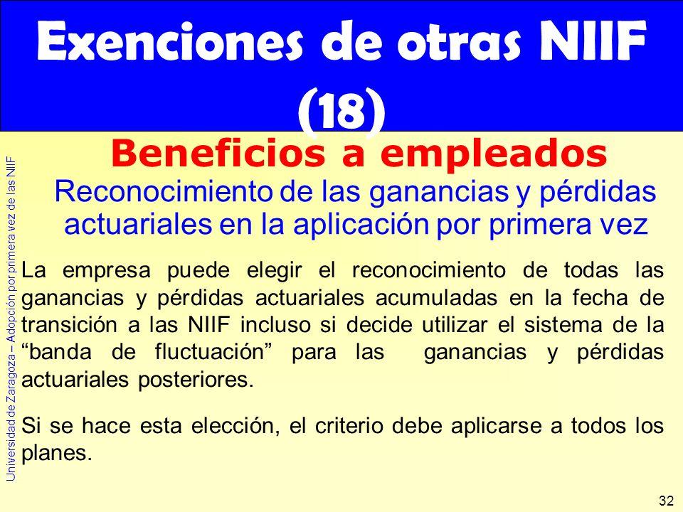 Universidad de Zaragoza – Adopción por primera vez de las NIIF 32 La empresa puede elegir el reconocimiento de todas las ganancias y pérdidas actuaria