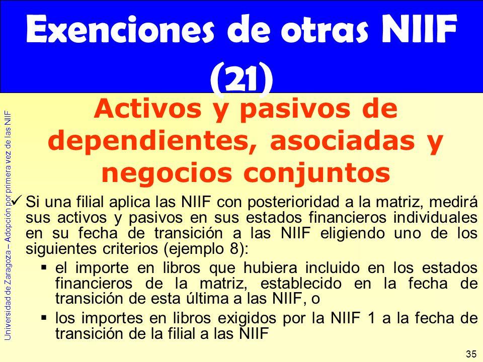 Universidad de Zaragoza – Adopción por primera vez de las NIIF 35 Si una filial aplica las NIIF con posterioridad a la matriz, medirá sus activos y pa