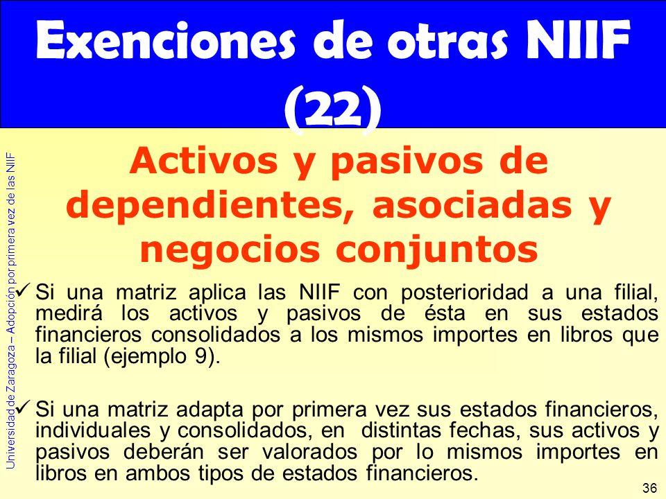 Universidad de Zaragoza – Adopción por primera vez de las NIIF 36 Si una matriz aplica las NIIF con posterioridad a una filial, medirá los activos y p