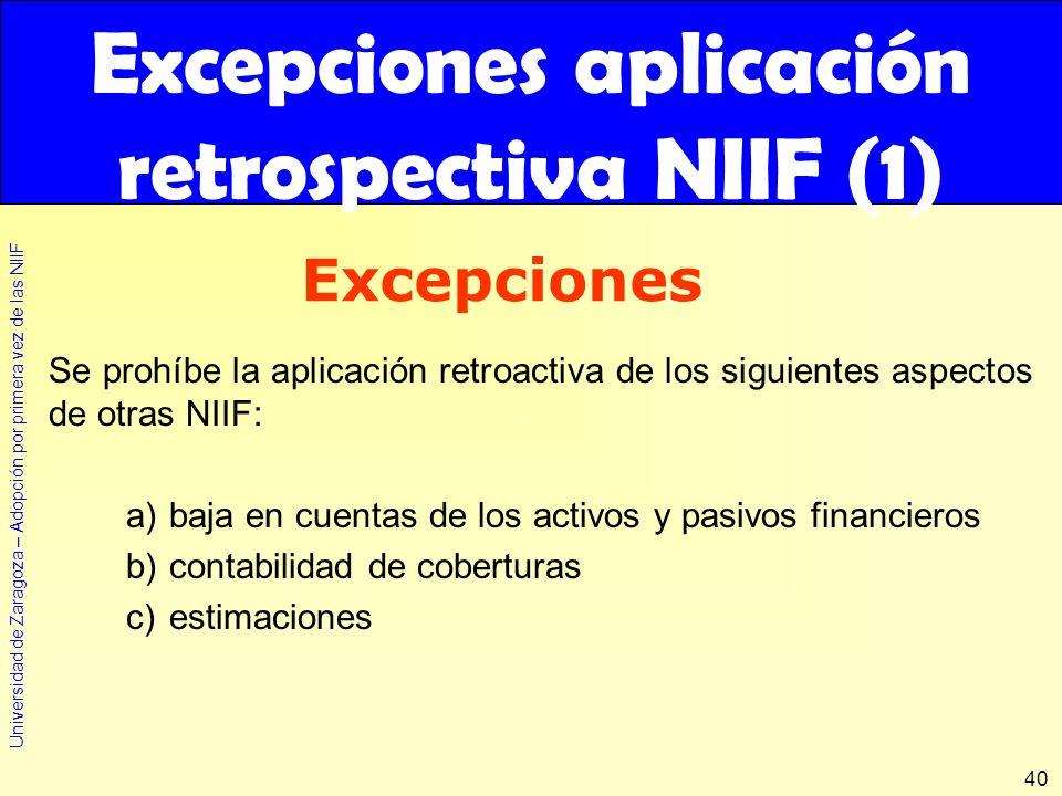 Universidad de Zaragoza – Adopción por primera vez de las NIIF 40 Se prohíbe la aplicación retroactiva de los siguientes aspectos de otras NIIF: a)baj