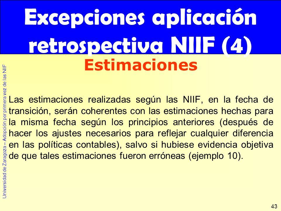 Universidad de Zaragoza – Adopción por primera vez de las NIIF 43 Las estimaciones realizadas según las NIIF, en la fecha de transición, serán coheren