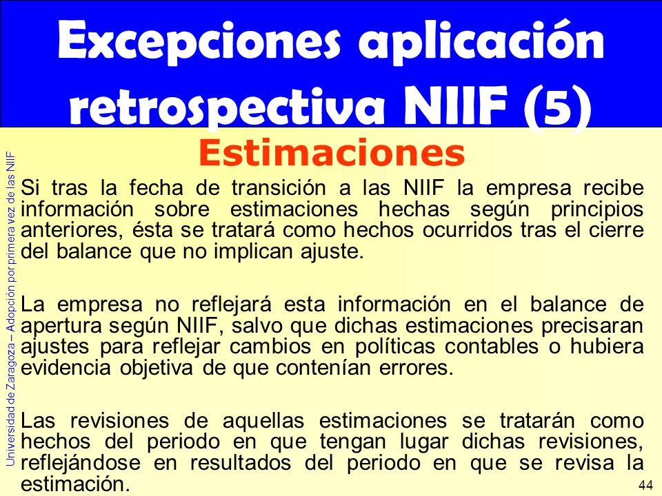 Universidad de Zaragoza – Adopción por primera vez de las NIIF 44 Si tras la fecha de transición a las NIIF la empresa recibe información sobre estima