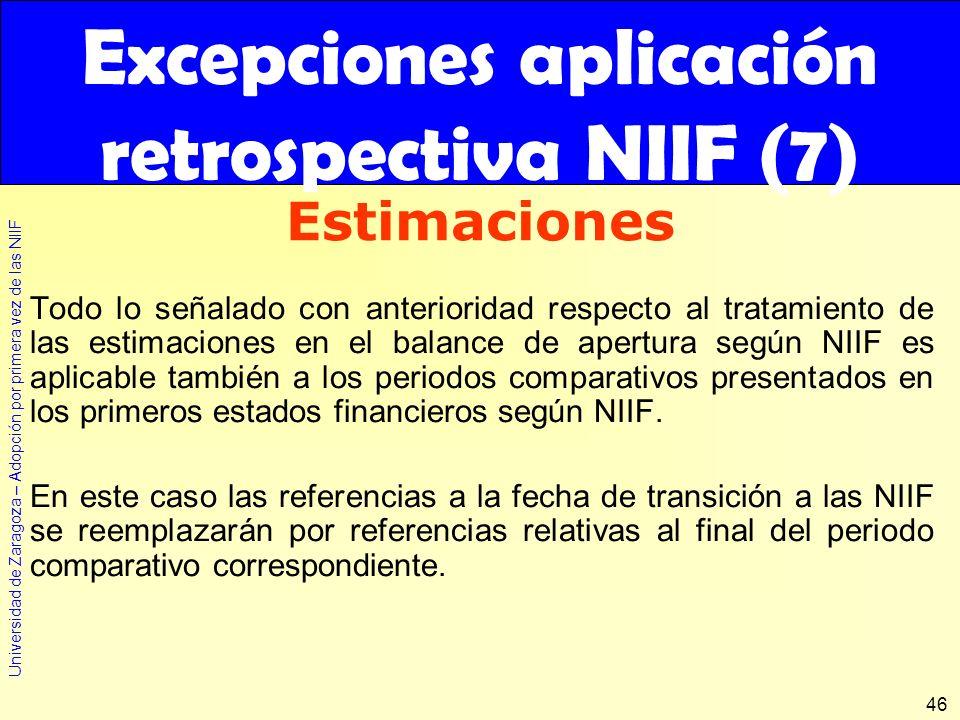 Universidad de Zaragoza – Adopción por primera vez de las NIIF 46 Todo lo señalado con anterioridad respecto al tratamiento de las estimaciones en el
